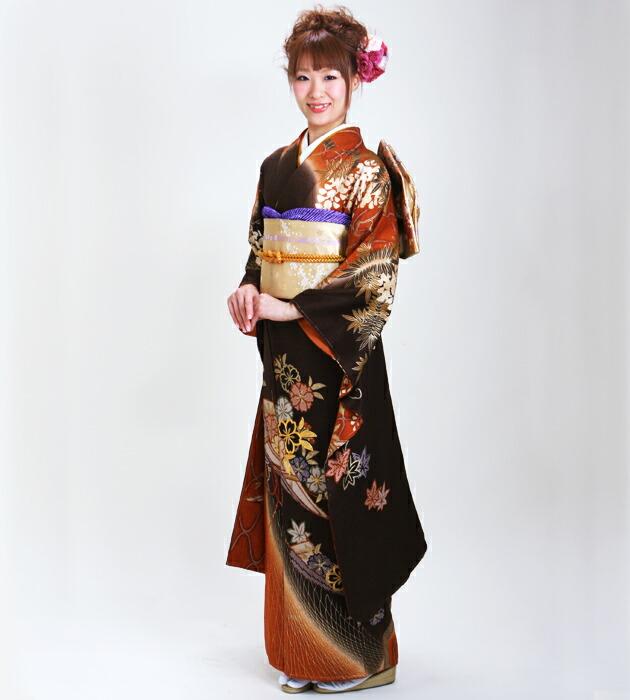 振袖 レンタル,〜168cm 茶色/藤桜 結婚式 成人式 結納 NT-184