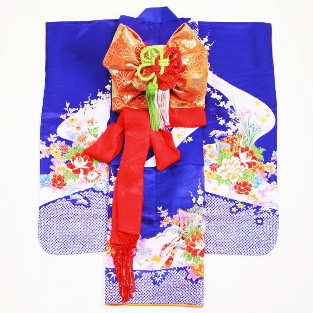七五三 レンタル 女の子/3歳 七五三着物 紺色/花・御所車〔身長:96cm,98cm〕卒園式 結婚式 NT-319