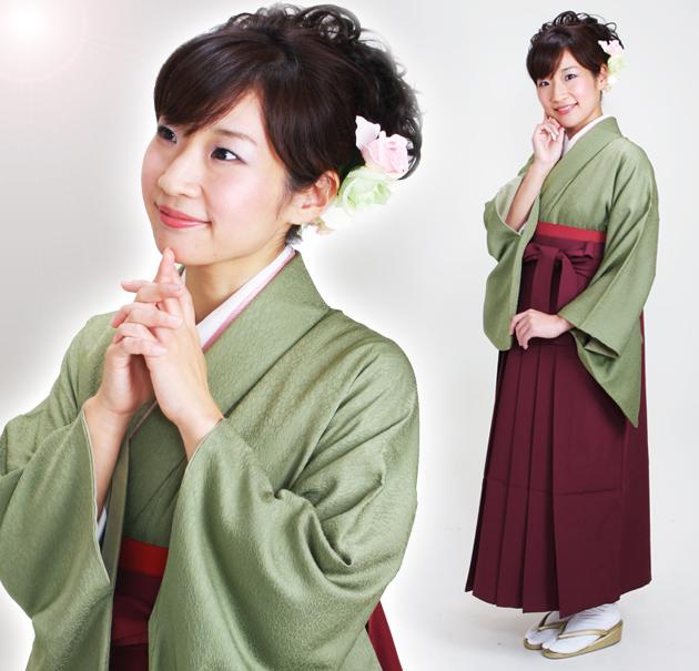 卒業式 袴 レンタル モスグリーン色 無地 身長〜165cm,7号〜13号 NT-muji83