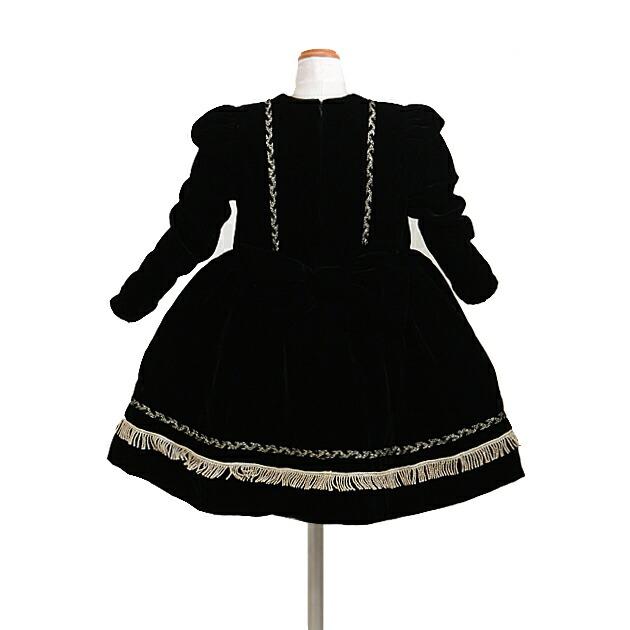 子供 ドレス レンタル 7〜8才 黒色 長袖 ベルベット dj-075b