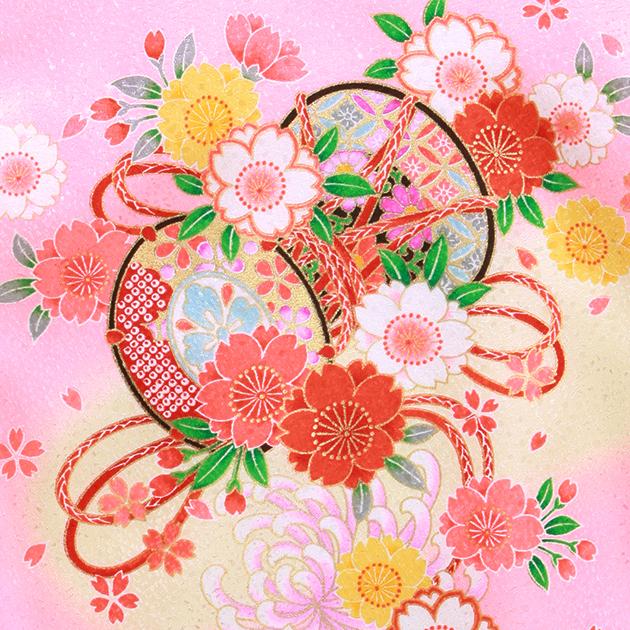お宮参り レンタル 初着 産着 レンタル 女の子 ピンク赤色/つづみ・まり・花 赤ちゃん 祝着 l-71