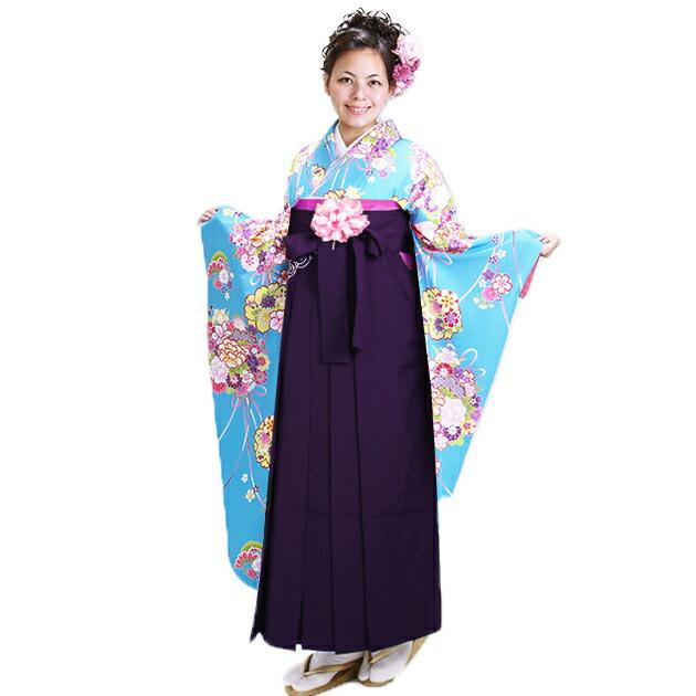 卒業式 袴 レンタル【中振袖+袴】 水色 花りぼん 身長〜175cm,9号〜13号 NT-F303