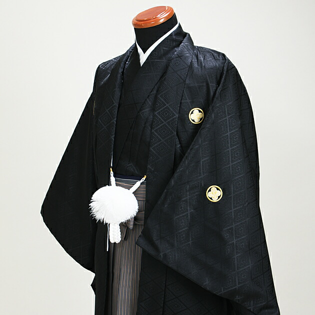 ジュニア 黒紋付袴レンタル 紺茶【中】7-E〔149-154cm対応〕