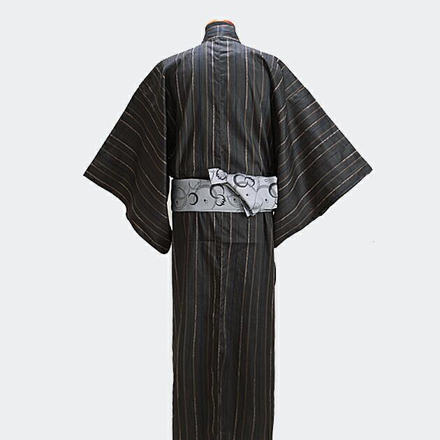 【浴衣 メンズ レンタル】ゆかたレンタル 3点セット☆浴衣・帯・下駄☆nt-my115 黒茶/縞柄