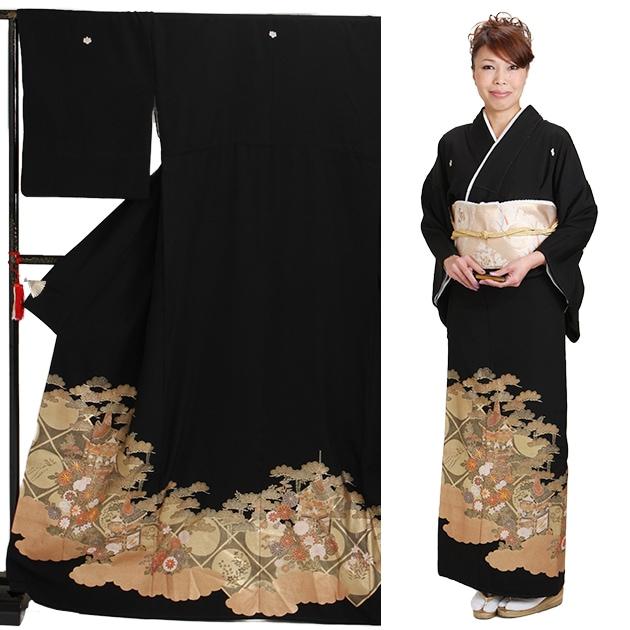 黒留袖 レンタル [標準サイズ:150cm〜165cm] 留袖 レンタル 着物 留め袖 NT-828