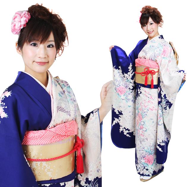 振袖 レンタル,〜165cm 青/青地 四季花 結婚式 成人式 結納 NT-79