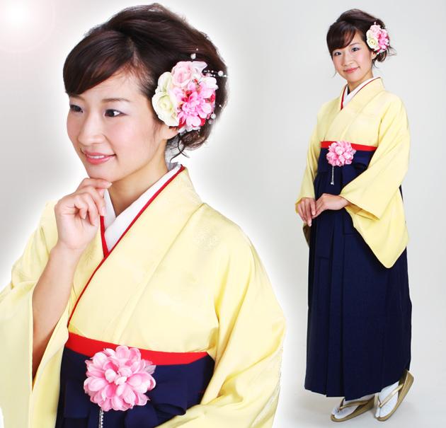 卒業式 袴 レンタル クリーム色 無地 身長〜155cm,7号〜13号 NT-muji22