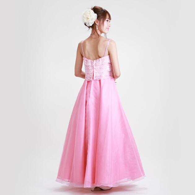 二次会ドレス レンタル 13号-15号 Aライン ピンク 結婚式の2次会に 8122