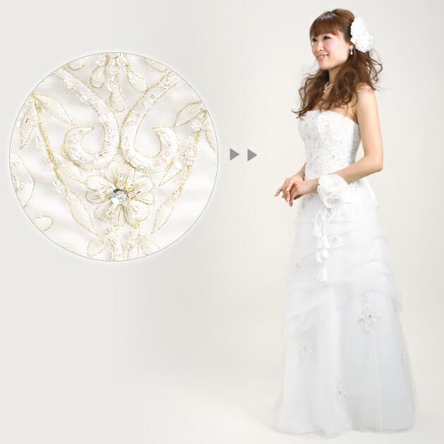 二次会ドレス レンタル 5号-9号 スレンダーAライン ホワイト 結婚式の2次会に 8205号