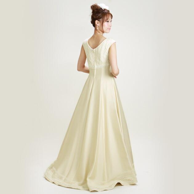 二次会ドレス レンタル 7号-9号 Aライン シャンパンゴールド 結婚式の2次会に 8212