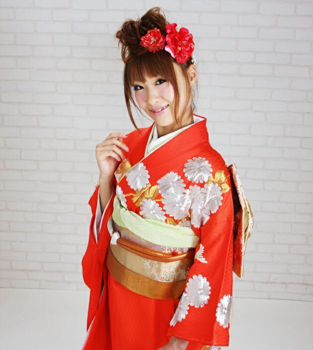 引き振袖レンタル 赤色/菊 NT-102