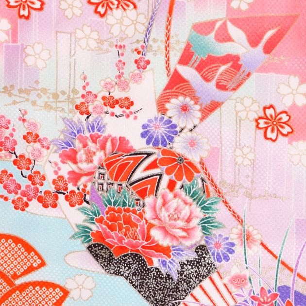 七五三 被布セット レンタル 女の子 3歳 ピンク色/花扇〔身長:96cm,98cm〕 卒園式 結婚式 NT-323-14