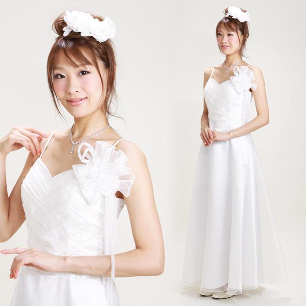 二次会ドレス レンタル 7号-11号 Aライン ホワイト 結婚式の2次会に 8119