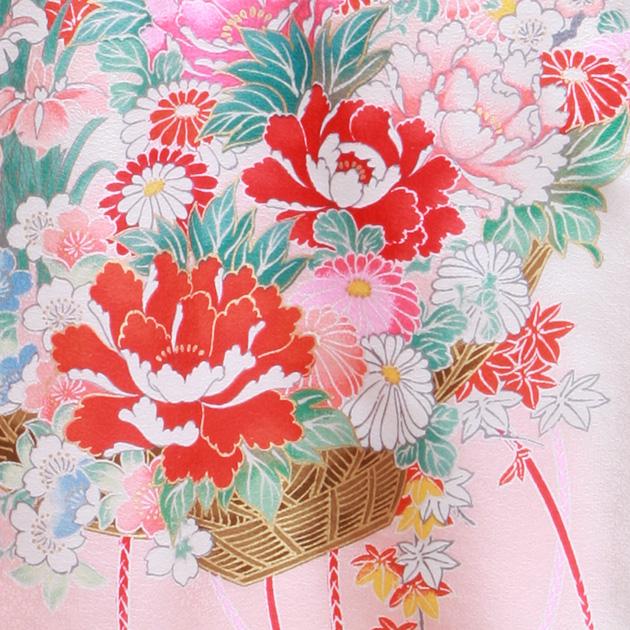 お宮参り レンタル 初着 産着 レンタル 女の子 赤ピンク/花籠 【日本製高級正絹】 赤ちゃん 祝着 l-57