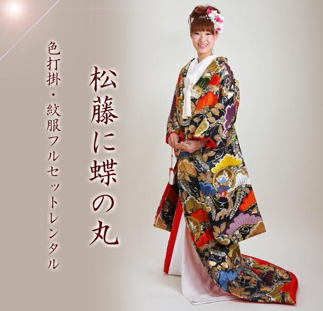 色打掛レンタル 紫色/松藤に蝶の丸 NT-819