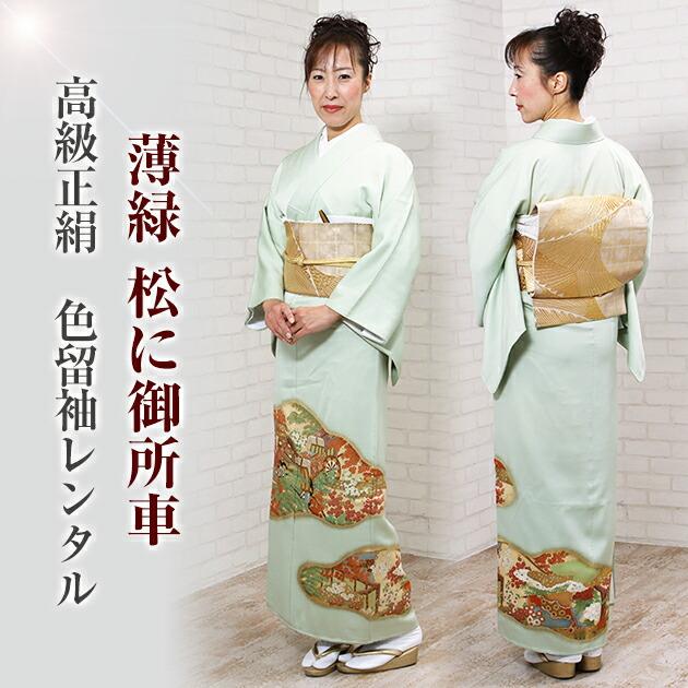 色留袖 レンタル 袷 10月〜5月 薄緑色・松に御所車 留袖 レンタル irotomesode17