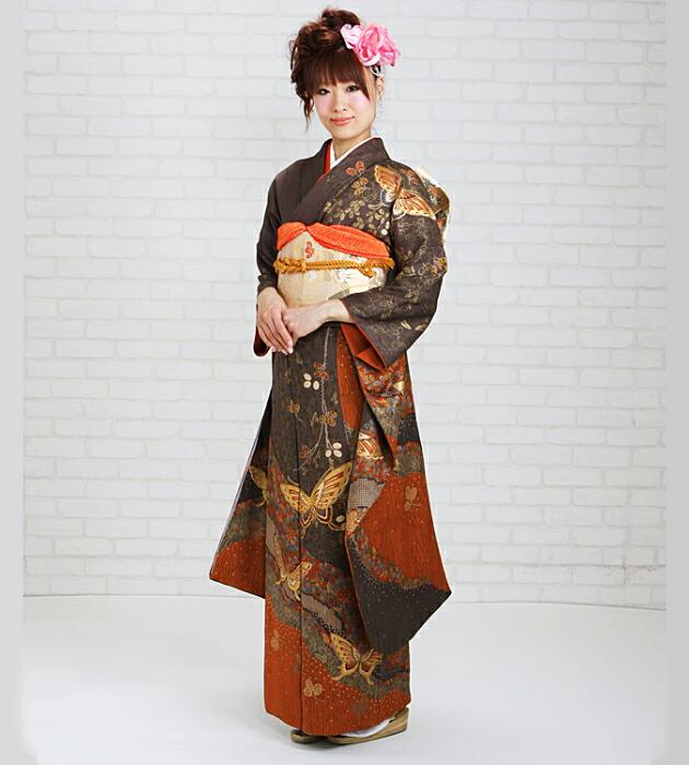 振袖 レンタル,〜168cm 茶色/熨斗に蝶 結婚式 成人式 結納 NT-181