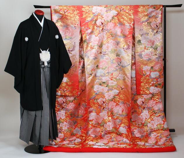 色打掛レンタル パステル色/秋草牡丹花鳥文 NT-729
