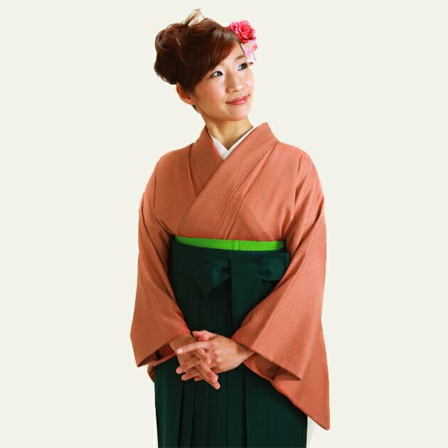 卒業式 袴 レンタル レンガ色 広幅 身長〜160cm,13号〜15号 NT-muji104
