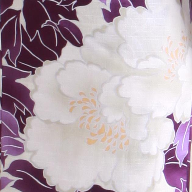 【浴衣 レンタル】レディース 3点セット☆浴衣・帯・下駄☆nt-y060 白芍薬 紫の葉
