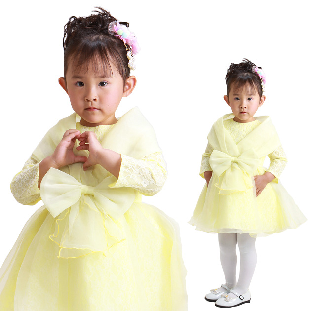 子供 ドレス レンタル 3〜4才 黄色 長袖 182a