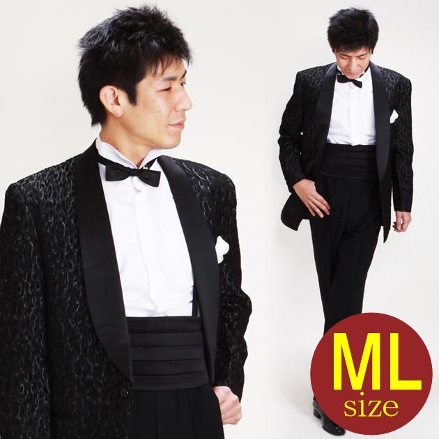 【タキシード レンタル】M・Lサイズ/168cm〜175cm/ブラック・ゴールドラメ up-a251a