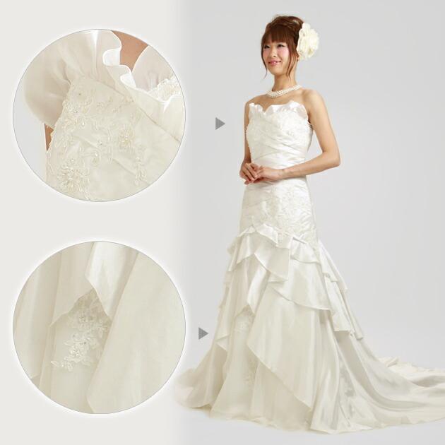 二次会ドレス レンタル 11号-13号 ソフトマーメイド ホワイト 結婚式の2次会に 8233