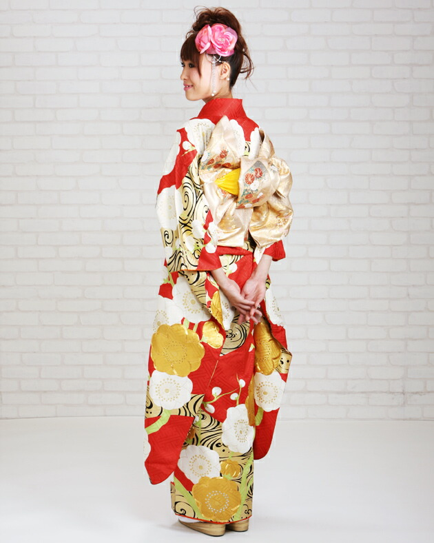 振袖 レンタル,〜160cm 赤色/梅 結婚式 成人式 結納 NT-25