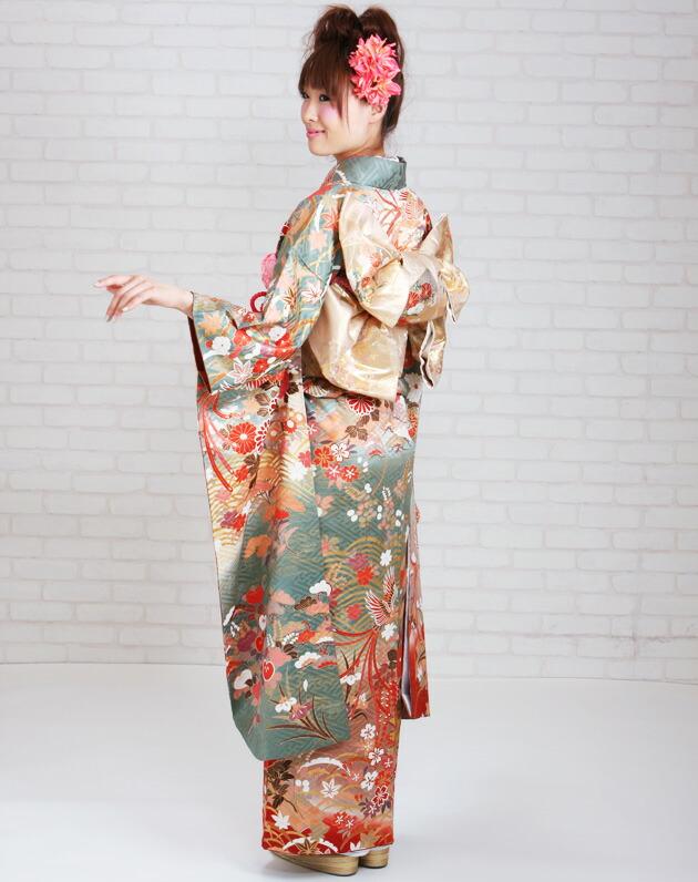 振袖 レンタル,〜168cm グリーン色/鳳凰に四季花 結婚式 成人式 結納 NT-125