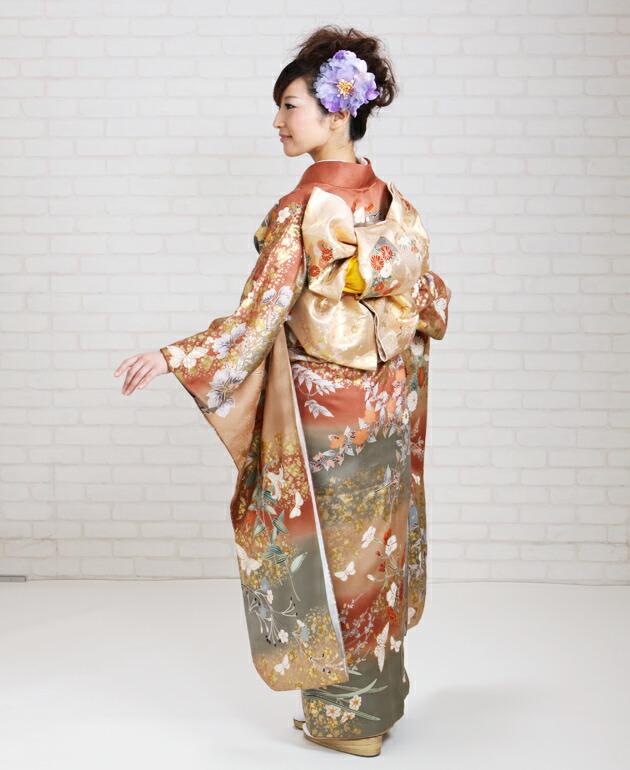 振袖 レンタル,〜165cm 薄緑・からし色/金箔蝶四季花 結婚式 成人式 結納 NT-173