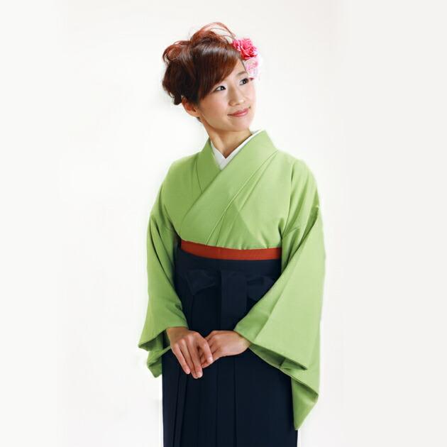 卒業式 袴 レンタル グリーン色 広幅 身長〜160cm,13号〜15号 NT-muji105
