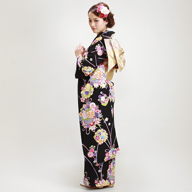 振袖 レンタル,〜175cm 黒色/花リボン りぼん 結婚式 成人式 結納 NT-L304