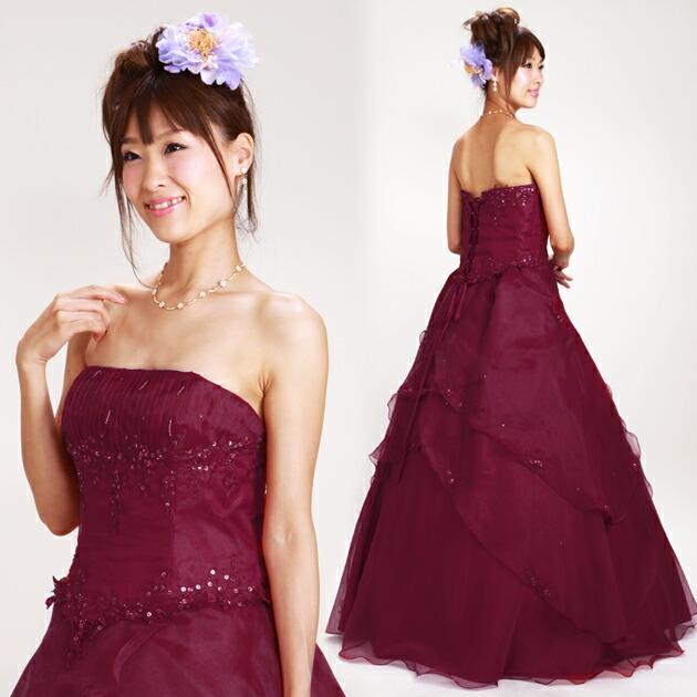 二次会ドレス レンタル 13号-17号 プリンセスティアード ワインレッド 結婚式の2次会に 8235