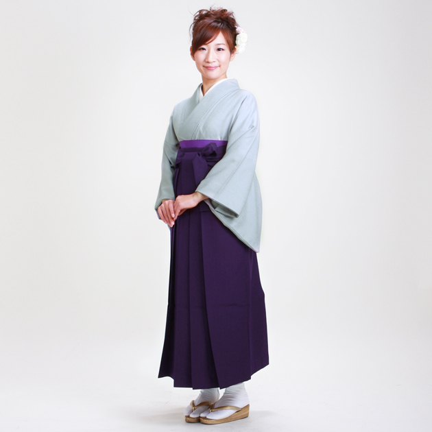卒業式 袴 レンタル ブルーグレー色 身長〜158cm,7号〜13号 NT-muji16
