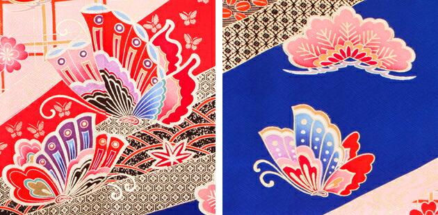 袴 レンタル 女の子/5〜7歳 七五三着物 7歳 七五三着物7歳 紺ピンク色/花・蝶・松 卒園式 結婚式 ★NT-袴114