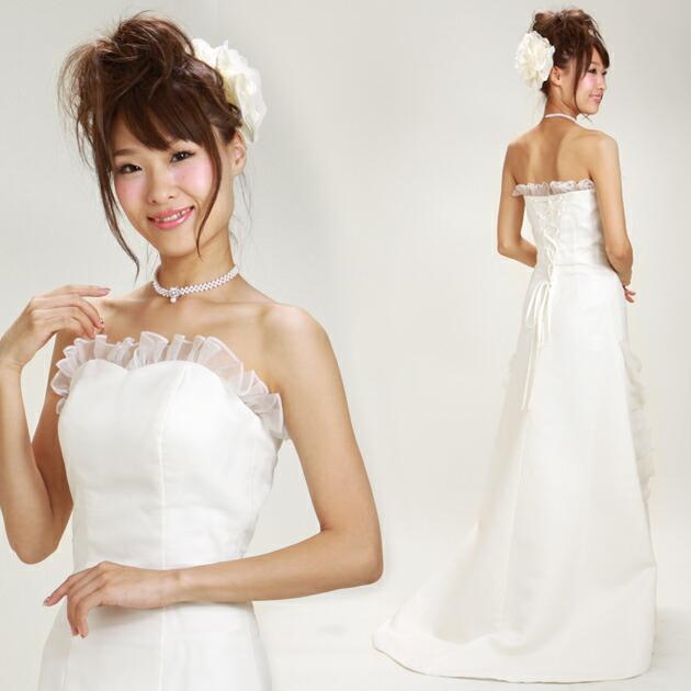二次会ドレス レンタル 3号-7号 Aライン オフホワイト 結婚式の2次会に 8101