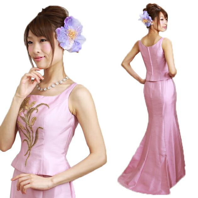 二次会ドレス レンタル 6号-7号 マーメイド ノースリーブ ピンク 結婚式の2次会に 8301