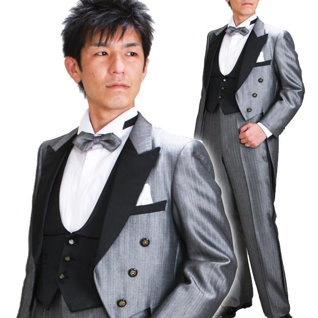 タキシード レンタル 【グレーエンビ レンタル】新郎 結婚式 nt005