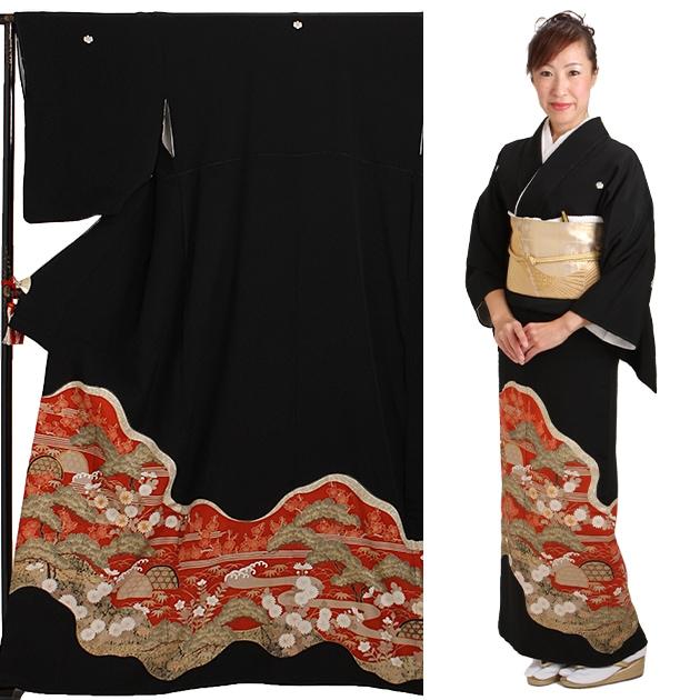 黒留袖 レンタル [標準サイズ:150cm〜160cm] 留袖 レンタル 着物 留め袖 NT-377