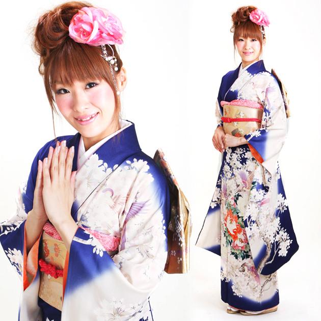 振袖 レンタル,〜165cm 青色/桜牡丹 結婚式 成人式 結納 NT-80