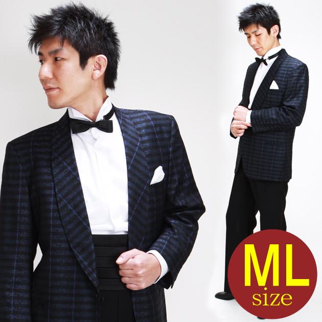 【タキシード レンタル】M・Lサイズ/168cm〜175cm/紺地模様 ストライプ 256b