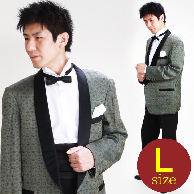 【タキシード レンタル】L・XLサイズ/170cm〜182cm/グレーグリーン パーティ 演奏会 1109