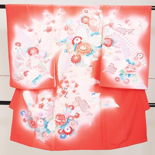 お宮参り レンタル 初着 産着 レンタル 女の子 赤ピンク/つづみ・牡丹 【日本製高級正絹】 赤ちゃん 祝着 l-60