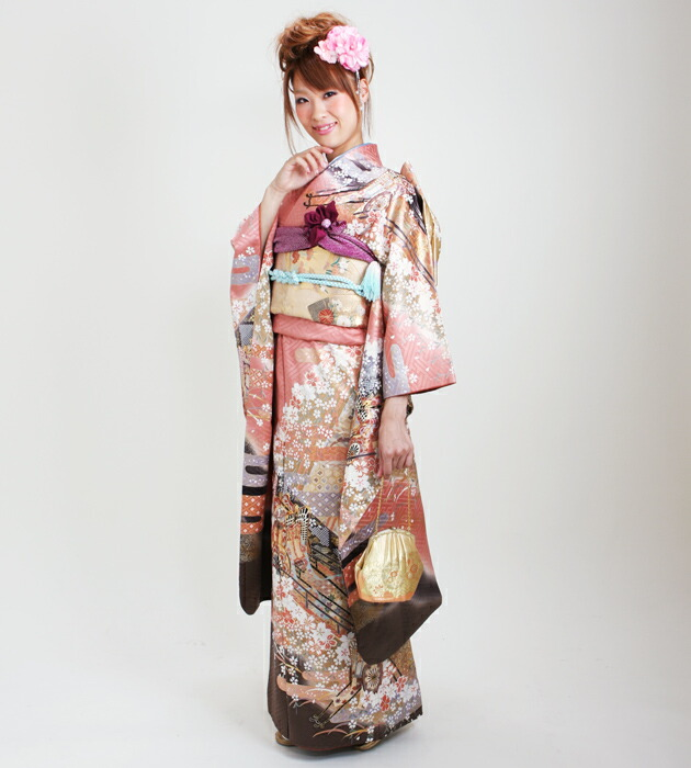 振袖 レンタル,〜163cm ピンク色/桜に御所車 結婚式 成人式 結納 NT-127