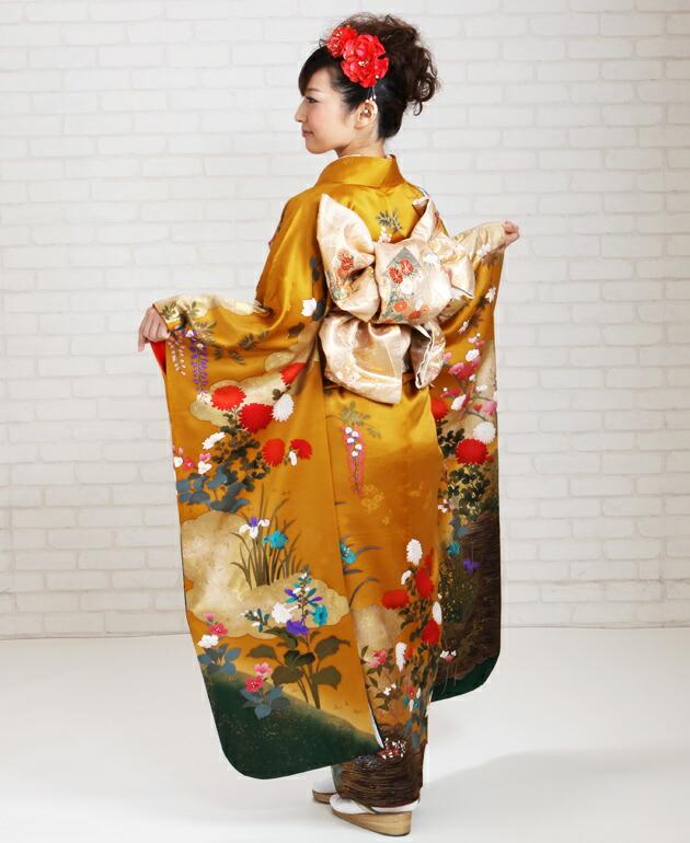振袖 レンタル,〜168cm からし色/金箔雲取四季花 結婚式 成人式 結納 NT-218