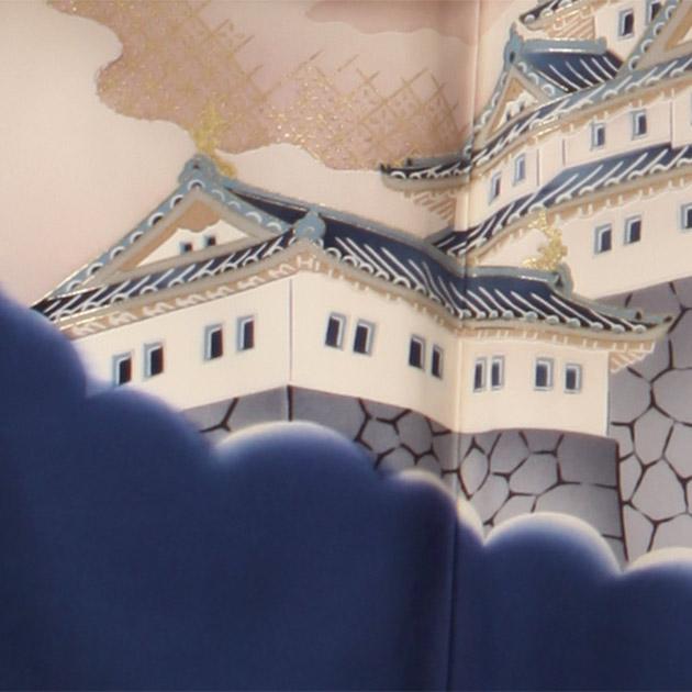 お宮参り レンタル 初着 産着 レンタル 男の子 グレーブルー/鷹・城 【日本製高級正絹】 赤ちゃん 祝着 m-34