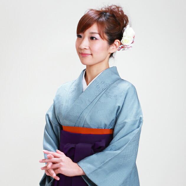 卒業式 袴 レンタル ブルー色 身長〜158cm,7号〜13号 NT-muji52