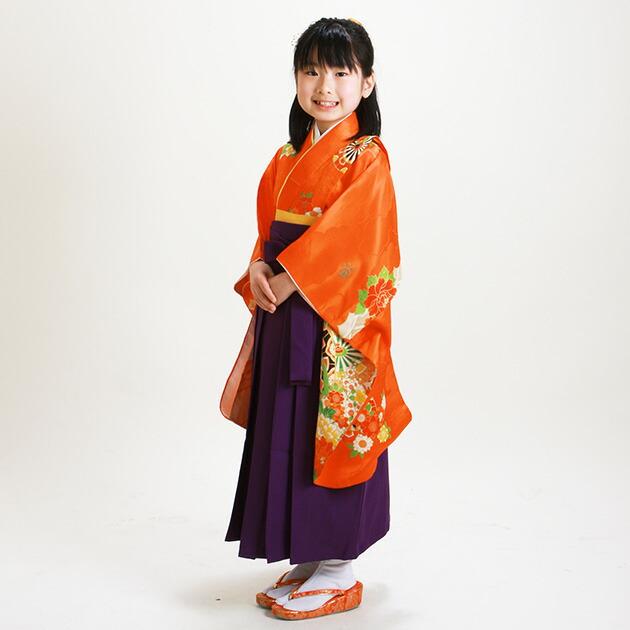 袴 レンタル 女の子/5〜7歳 七五三着物 7歳 七五三着物7歳 朱色/花駒 卒園式 結婚式 NT-袴ヘ