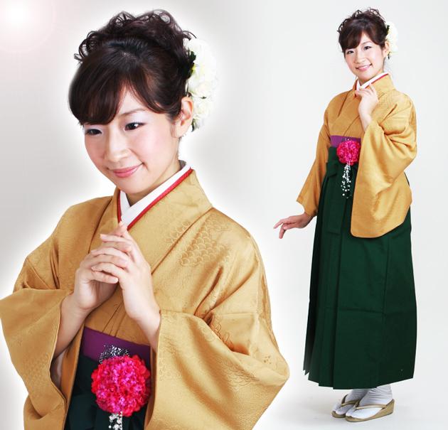 卒業式 袴 レンタル からし色 無地 身長〜158cm,7号〜13号 NT-muji53