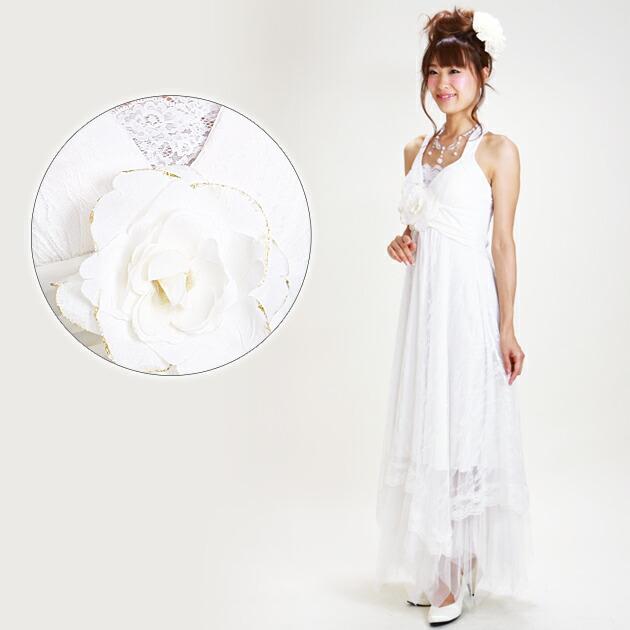 二次会ドレス レンタル 5号-11号 Aライン ホワイト 結婚式の2次会に 8104